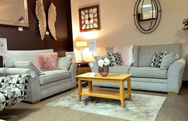 Brand New Marlborough Grey 3 Seater Sofa & Snuggler Set - Ready Now
