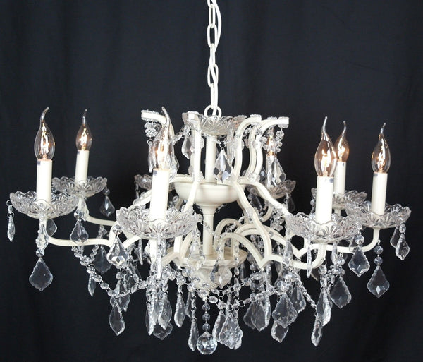 Stunning 8 Branch Shallow Cream Cut Glass Chandelier