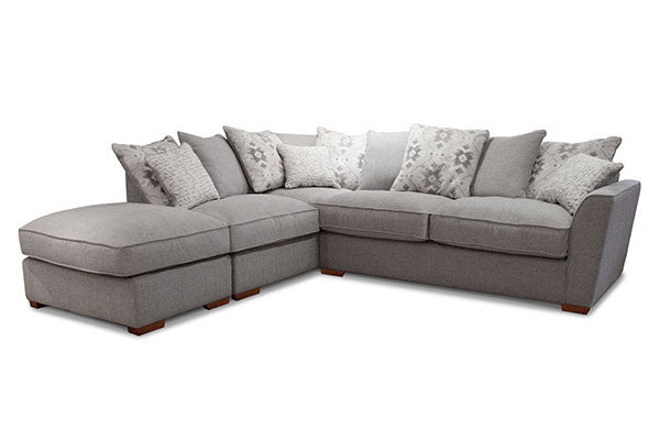 Alexis Sumptuous Left Facing Pillow Back Corner Sofa & Free Footstool