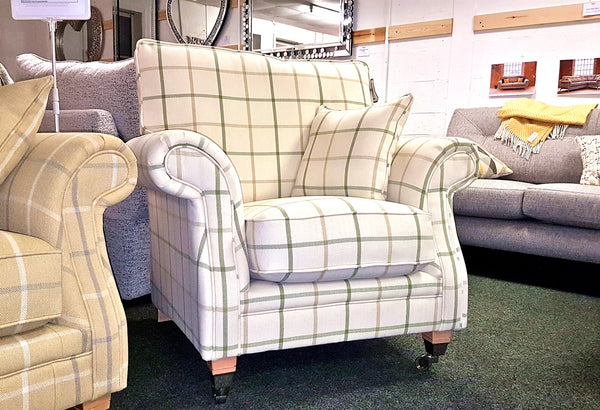 Glencoe Cuddler Chair – Sophisticated Country Elegance In Plaid Or Plain Fabrics
