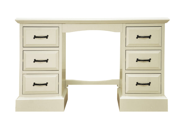 Cherish Antique White Double Pedestal Dressing Table / Desk | FREE DELIVERY