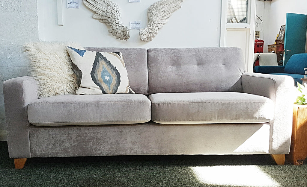 Zack Stunning Silver Chenille Large Sofa Bed - £729 RRP £1200