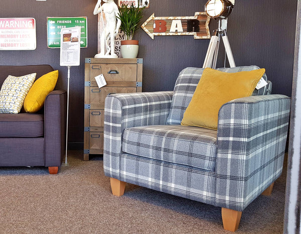 Portland Armchair In Grey Tartan Fabric - A Discontinued High End Dept Store Range