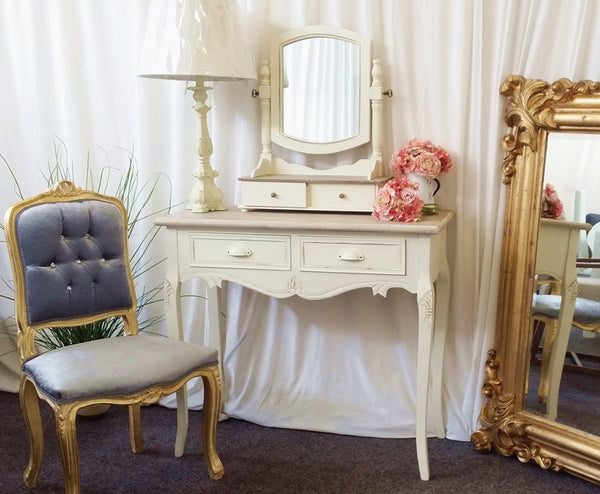 Jolie Country Cream French Shabby Chic Dressing Table & Mirror Set
