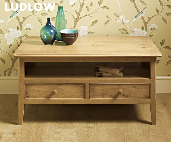 Ludlow Oak 2 Drawer Coffee Table  (RRP £819) - Premium Oak Furniture By Wood Bros