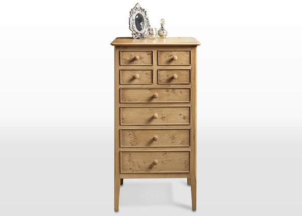 Old Charm Ludlow Pippy Oak Tall Boy Chest £459 (RRP £1,009) - Premium Oak Furniture By Wood Bros