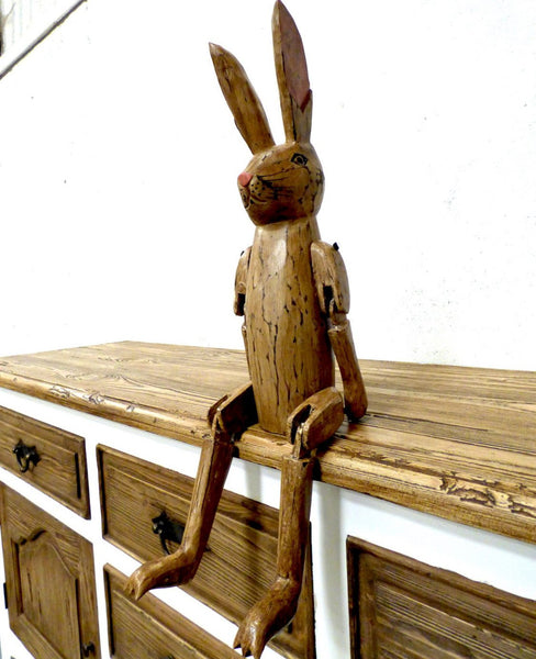 Cute Hand Carved Vintage Style Wooden Hartley Hare Puppet - 60cm