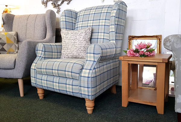 Lochinver Accent Wing Chair In Blue Tartan Fabric - Only £399 - Was £499