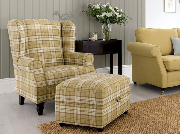 Lochinver Accent Wing Chair – Country Elegance In Plaid Or Plain Fabrics