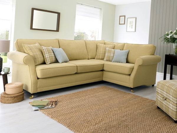 Lochinver Right Facing Corner Sofa – Sophisticated Country Elegance In Plaid Or Plain Fabrics
