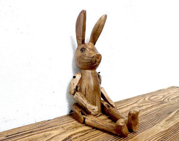 Cute Hand Carved Vintage Style Wooden Hartley Hare Puppet - 45cm