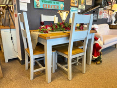 Melrose Grey Painted 1.2m Extending Dining Table and 4 Chair Set