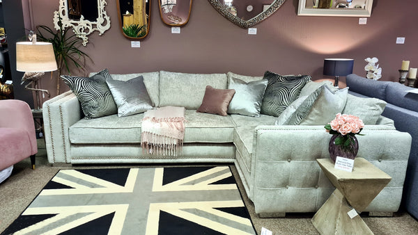 Sofology Midas Silver Corner Sofa With £400 Off Store Price