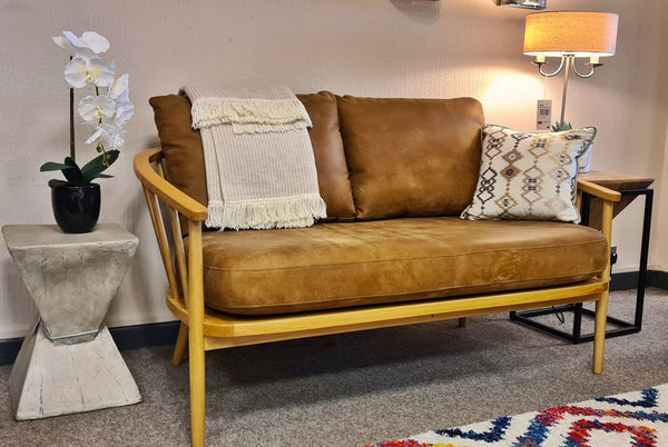 High End Dept Store Frome Mid-Century Style Leather Bent Wood Loveseat RRP £1,699