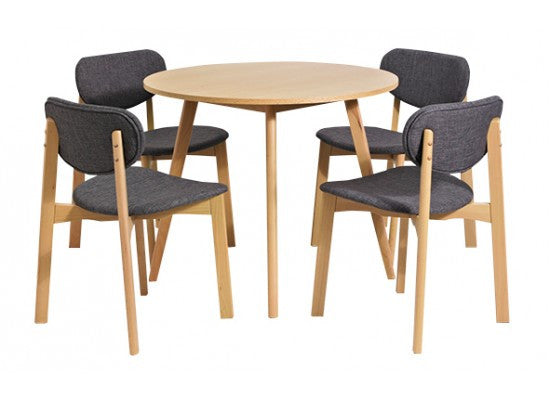 Palermo Retro Style Wooden Round Dining Table & 4 Chairs - FREE DELIVERY