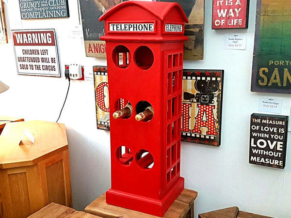 Quirky Vintage Red Telephone Box Wine Rack - Holds 12 Bottles
