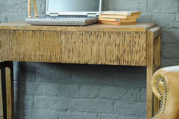 Rigmor Mid-Century Inspired Mango Wood Console Table With Drawers