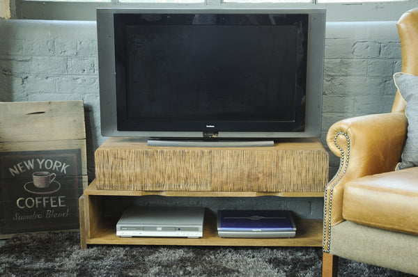 Modern Retro Look Rigmor Mango Wood TV Unit With Shelf