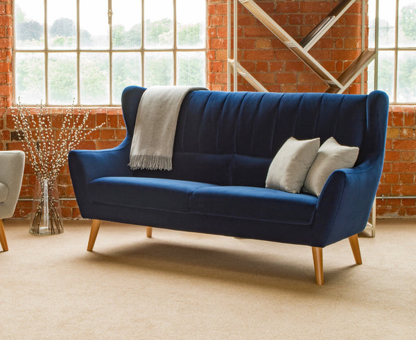 Rebel Large Dark Blue Velvet Sofa With High Back - Available For Immediate Dispatch