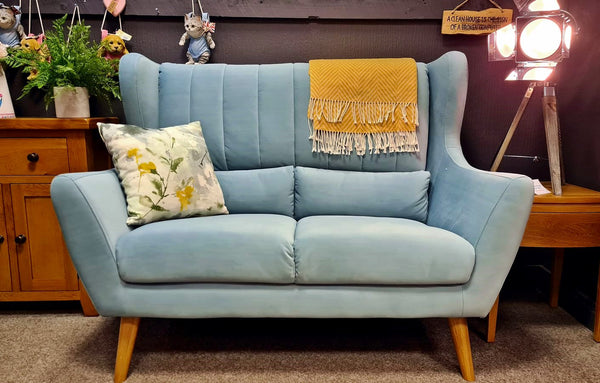Rebel Small Duck Egg Blue Velvet Sofa - Available For Immediate Dispatch