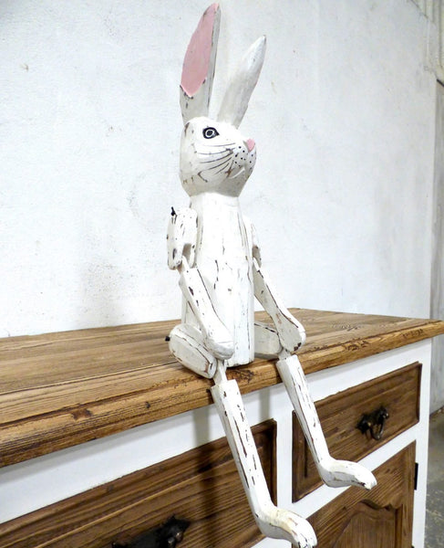 Rowan - Cute Hand Carved Vintage Style White Wooden Rabbit Puppet - 60cm