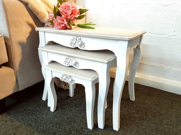 Fleurie Beautiful Rose Embellished French Shabby Chic Nest of 3 Tables