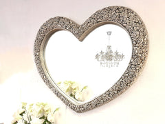 Beautiful Rose Encrusted Silver Heart Mirror 110cm £139.99 - RRP £279