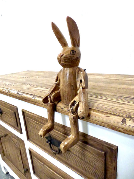 Cute Hand Carved Vintage Style Wooden Hartley Hare Puppet - 35cm