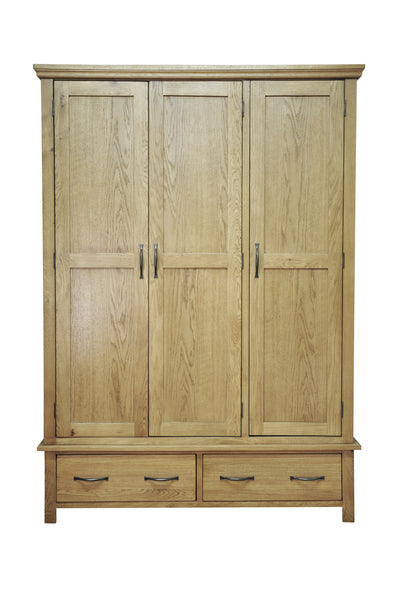 Woburn Superb Oak Triple Wardrobe With 2 Drawers