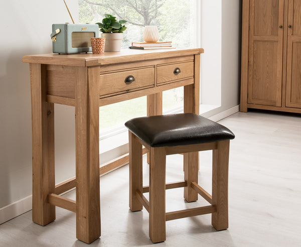 Broughton Premium Light Oak Dressing Table & Stool Set