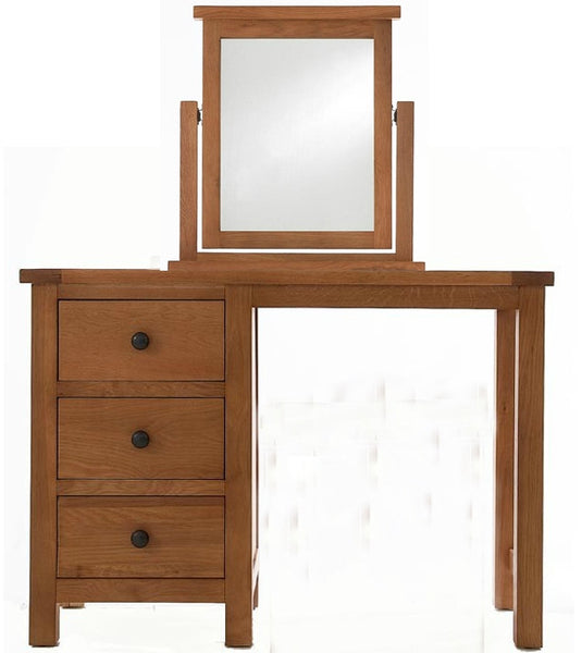 Cambridge Solid Oak Dressing Table & Mirror Set | Free Delivery