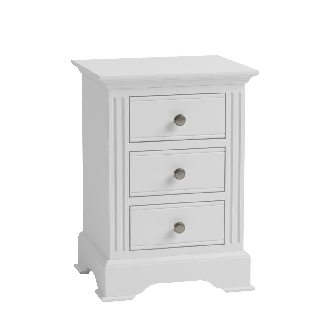 White Painted Narrow 3 Drawer Bedside Cabinet