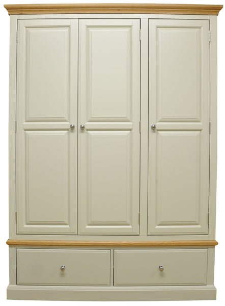 Dijon Country Style Painted Oak 3 Door Wardrobe With 2 Drawers