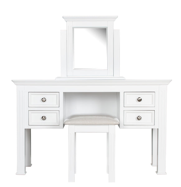 Berkeley Elegance Stunning White Satin 3 Part Pedestal Dressing Table Set