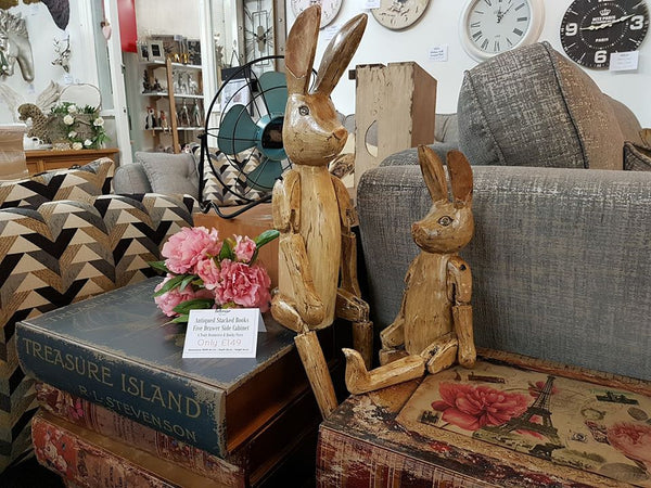 Cute Hand Carved Vintage Style Wooden Hartley Hare Puppet - 70cm
