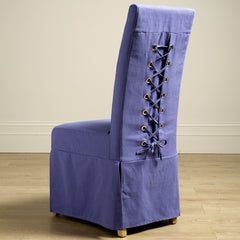 Set Of Four Old Charm Blue Loose Cover Dining Chairs  - RRP £259