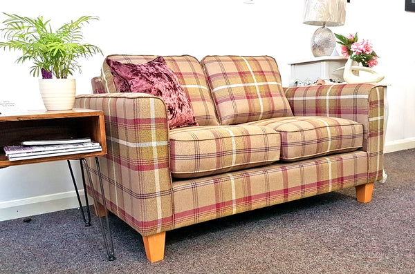 Portland Fabric 2 Seater Sofa In Tartan Fabric - From Only £699