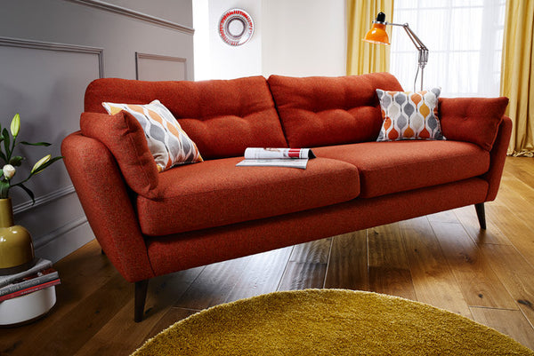 Hendrix Designer Style Mid-Century Influenced Large Sofa