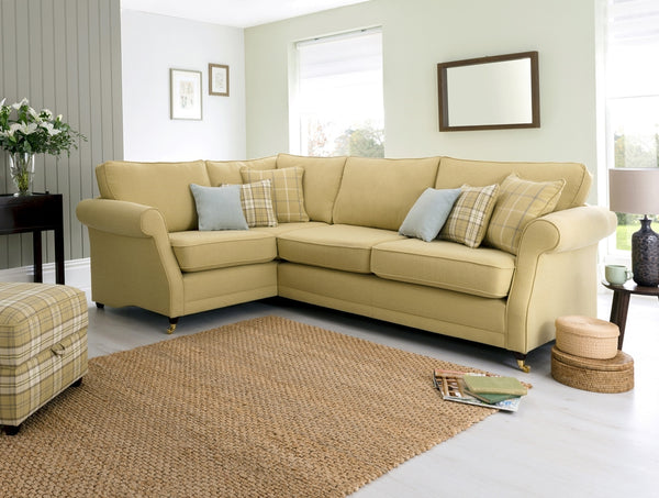 Lochinver Left Facing Corner Sofa – Sophisticated Country Elegance In Plaid Or Plain Fabrics