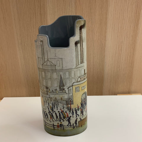 L S Lowry Coming from the Mill Vase