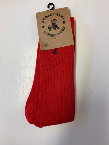 Swole Panda Bamboo Sock Red