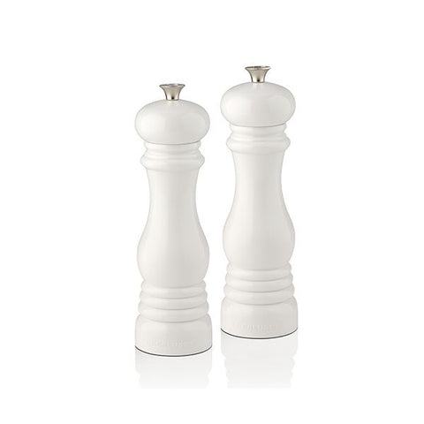 Le Creuset set of 2  salt and pepper mills White