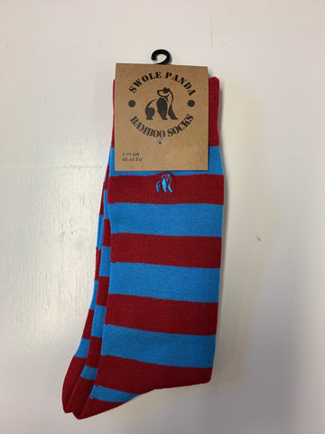Swole Panda Bamboo Sock sky blue and burgundy pack of 3