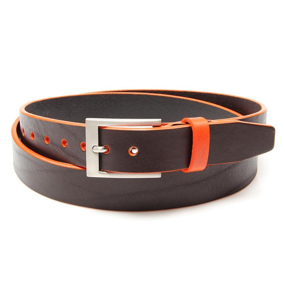 Brown leather belt with Tiqui Orange trim and keeper - Stolen Riches