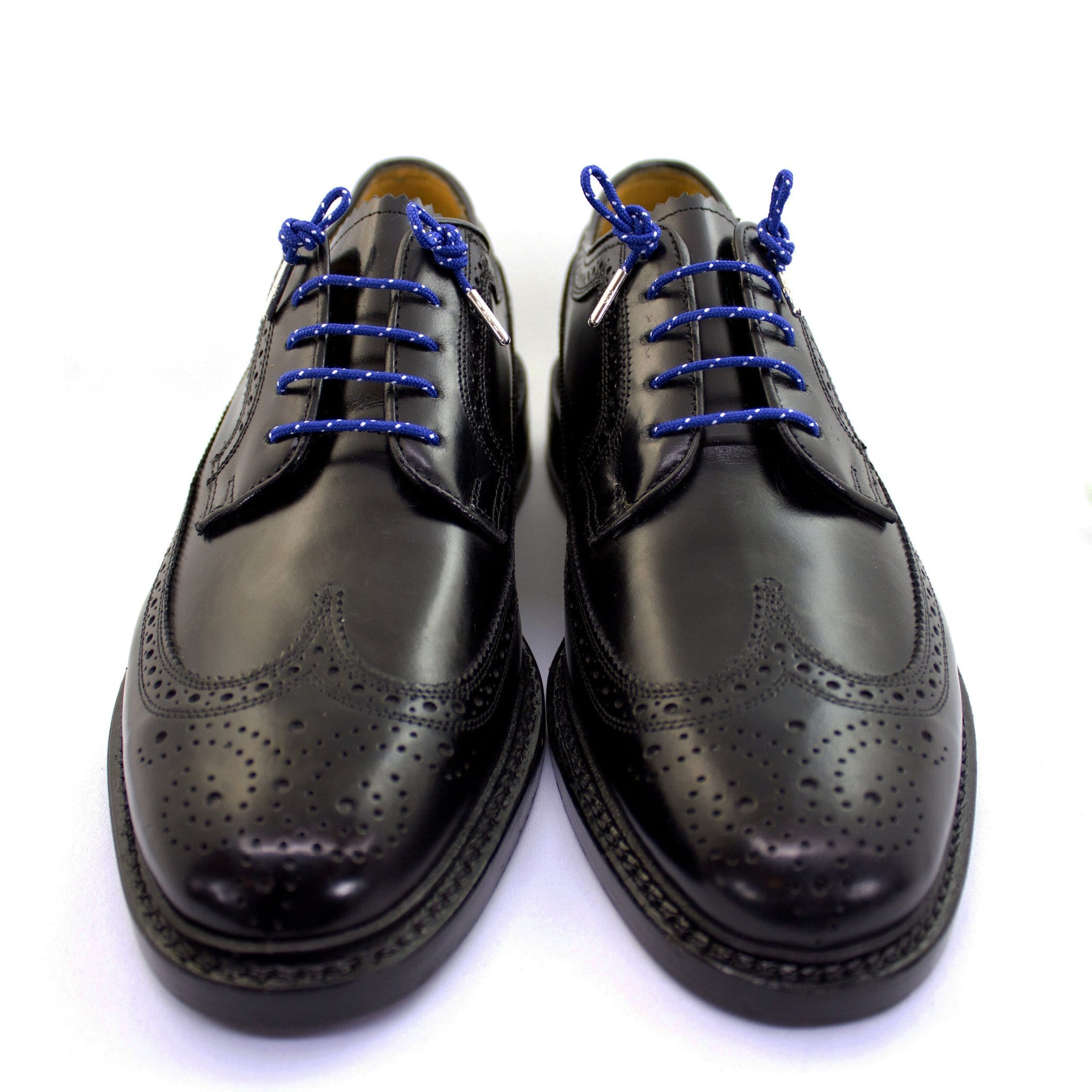 "Royal blue and white dots laces for dress shoes, Length: 32""/81cm-Stolen Riches"