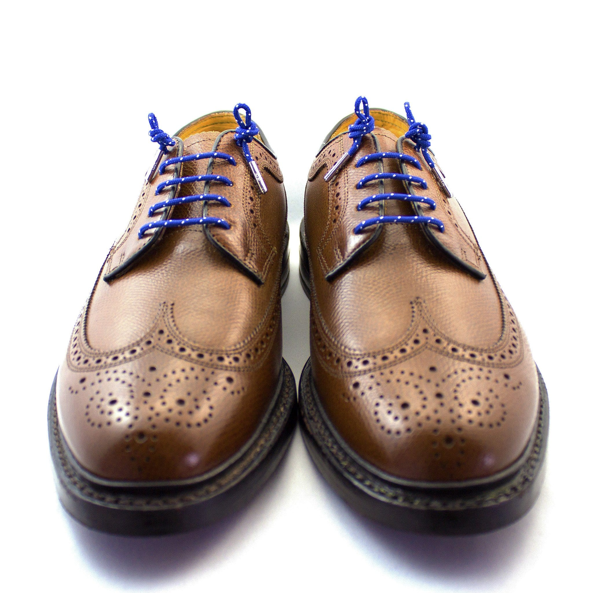 "Royal blue and white dots laces for dress shoes, Length: 27""/69cm-Stolen Riches"
