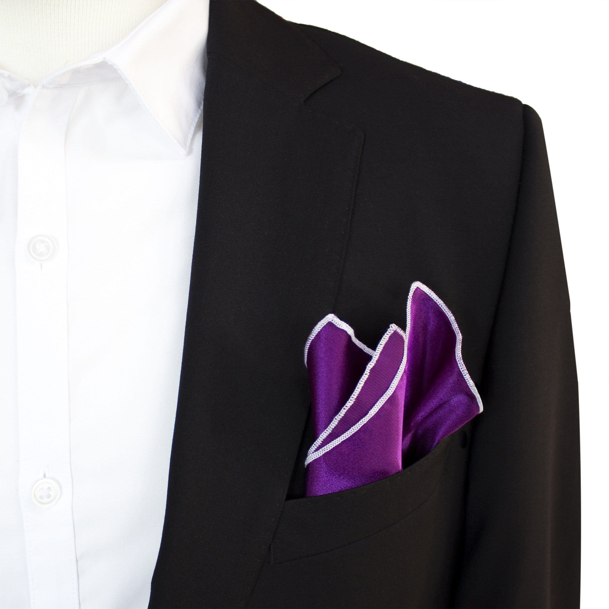 "Buster Purple - Merrow Stitch Pocket Square (11""x11"") - Stolen Riches"