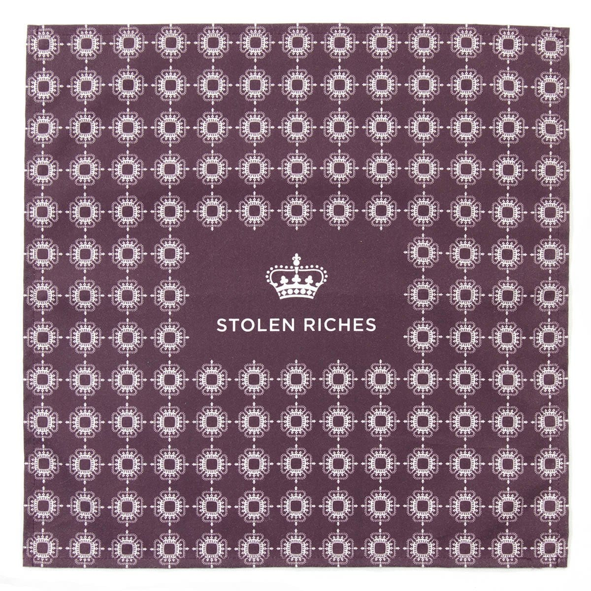 "Der Alte Burgundy - Crown Pattern Pocket Square (13""x13"") - Stolen Riches"