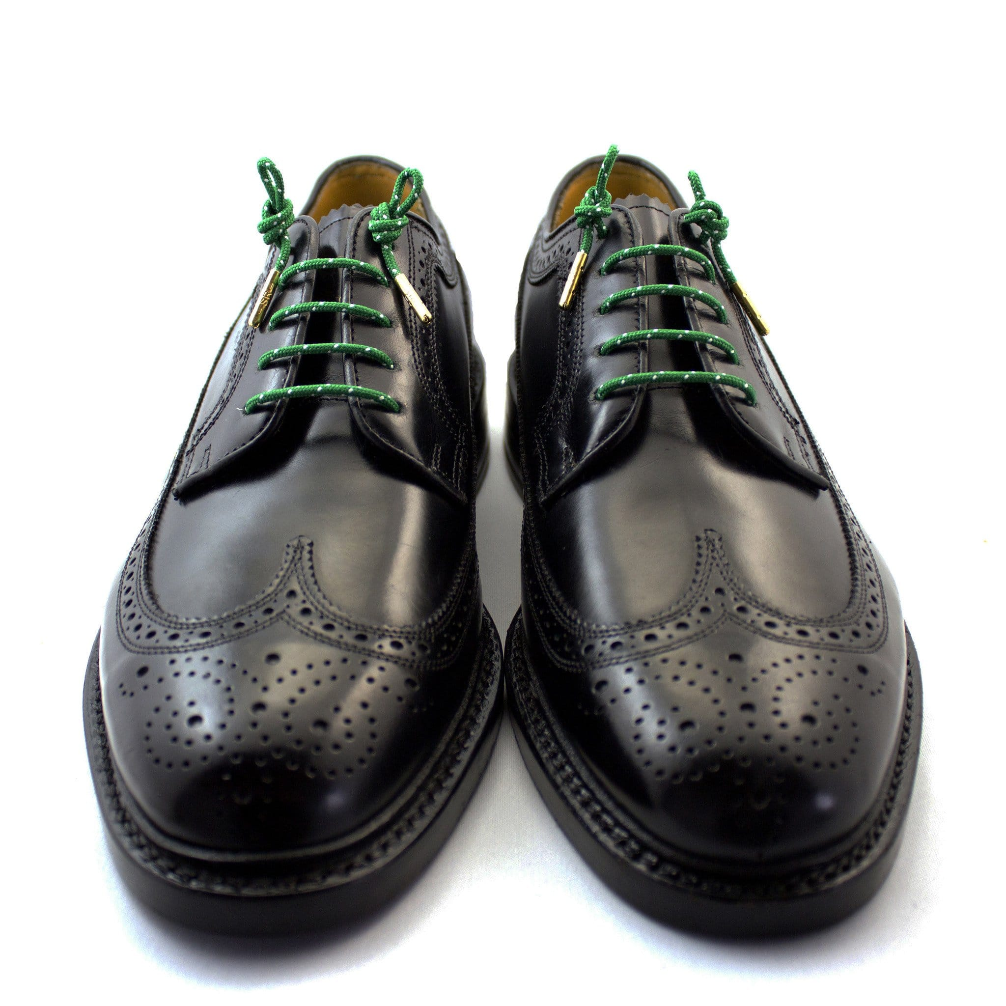 "Green and white dots laces for dress shoes, Length: 27""/69cm-Stolen Riches"