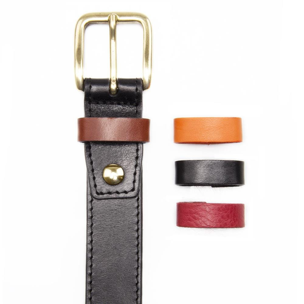 Black Leather Dress Belt with Interchangeable Keeper - Stolen Riches